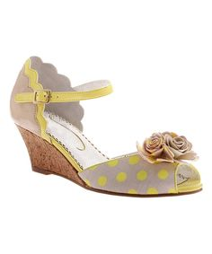 Look at this #zulilyfind! Yellow Crazy Daisy Wedge Sandal by Poetic Licence #zulilyfinds