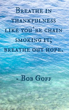 breathe in thankfulness like you're chain smoking it; breathe out hope -bob goff