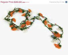ON SALE Chunky Orange Necklace Long Orange Necklace by Nakkashe
