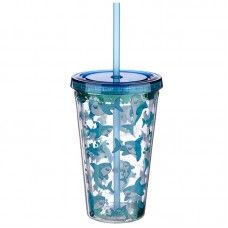 Shark Glitter Double Walled Cup with Lid and Straw Fun Drinks, Cold Drinks, Shark Gifts, Cup With Straw, Funky Design, Tumblers, Hello Kitty, Glass Vase, Cool Designs