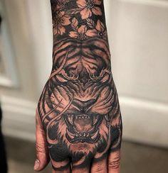 Tiger Forearm Tattoo, Tiger Hand Tattoo, Hand Tats, Forearm Sleeve Tattoos, Hand Tattoos For Guys, Japanese Hand Tattoos, Japanese Tiger Tattoo, Japanese Tattoo Designs, Tattoo Designs Men