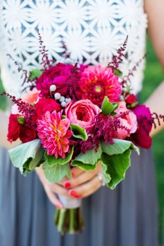 Pink bridesmaid bouquet: http://www.stylemepretty.com/california-weddings/kenwood/2014/05/08/modern-sonoma-wedding-at-chateau-st-jean/ | Photography: Janae Shields - http://janaeshields.com/