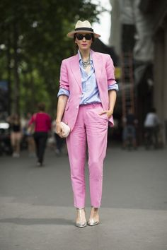 hesbespokenfor: pink linen summer menswear inspired suit with fedora, and shades