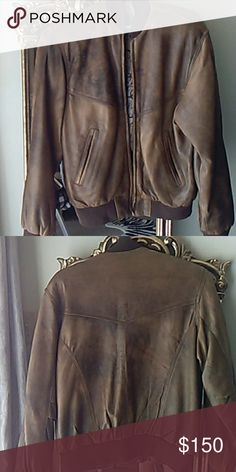 """Leather Bomber Jacket Beautiful distressed brown leather. Length 25"""". Size small but medium can wear. I just never get a chance to. Leather by Pordoi Jackets & Coats"""
