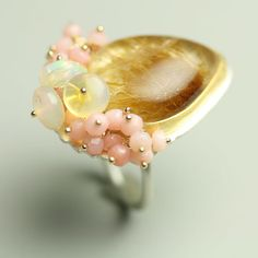 Golden Rutilated Quartz Ring by fussjewelry on etsy #jewelry #handmade