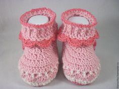 Купить Пинетки-сапожки для девочки - розовый, пинетки для девочки, пинетки, пинетки в подарок, пинетки крючком