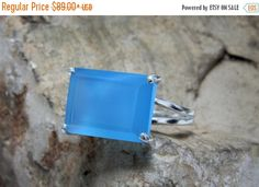 BLACK FRIDAY SALE - silver cocktail ring,chalcedony ring,rectangle ring,gemstone ring,large ring,statement rings,silver wow ring