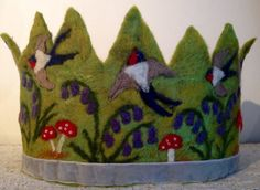 Swallows and Bluebells Waldorf Crown by SusannaW on Etsy, $110.00