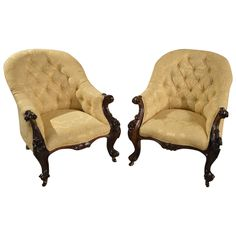 Pair of Solid Rosewood Victorian Period Antique Armchairs | From a unique collection of antique and modern armchairs at https://www.1stdibs.com/furniture/seating/armchairs/