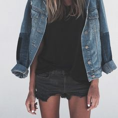 t by alexander wang tank | paige denim jacket | rag + bone shorts | chloé  booties | karen walker shades