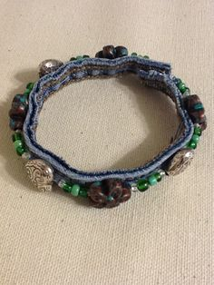 Recycled Denim Bracelet Beautiful Copper and by TwoSisters2Sis