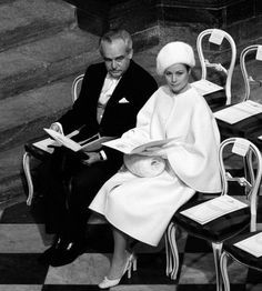 Prince Rainier and Princess Grace at Princess Anne's UK wedding. Grace wore an all White outfit !