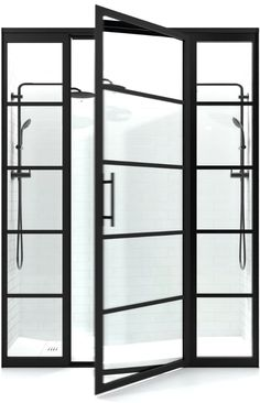 The Gridscape Experience: Explore black frame industrial style grid shower doors at divided.style - The Gridscape Experience: Explore black frame industrial style grid shower door. Framed Shower Door, Bathroom Shower Doors, Small Bathroom, Bathroom Storage, Farmhouse Shower Doors, Bathroom Glass Wall, Bathroom Shower Enclosures, Shower Screens, Shower Tiles