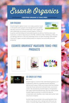 Essante Organics flyer www.essanteorganics.com/gogreenbehealthy