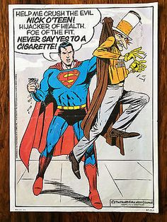 Vintage 1980s superman anti smoking #poster #original 1980 art retro #1970s,  View more on the LINK: http://www.zeppy.io/product/gb/2/121800906470/
