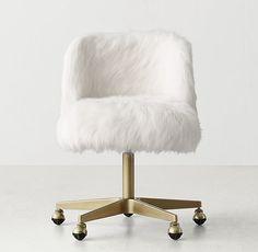 Alessa Kashmir Faux Fur Desk Chair - Antiqued Brass