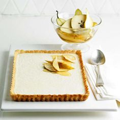 Vanilla Tart with Nutmeg Crust and Spiced Pears