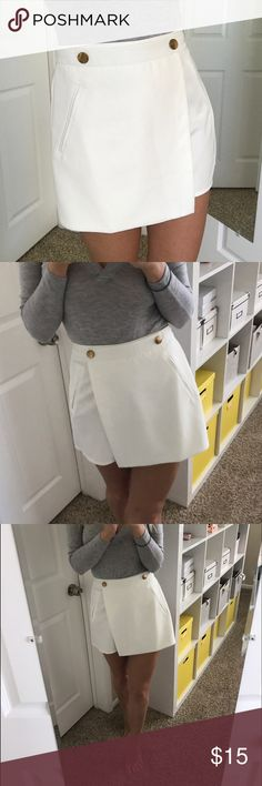 White shorts Cute and classy white shorts/skirt with gold buttons. Worn twice. Missguided Shorts Skorts