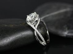 Maritza 14kt White Gold Round FB Moissanite and Diamonds Halo Twist Engagement Ring (Other Metals and Stone Options Available)