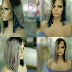 "Beautiful 1b gray/deep blue virgin hair lace front bob wig, 12""! Beautifully constructed with pure full cuticle human hair!"