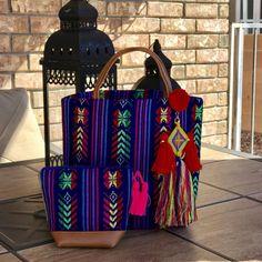 Mexican handbag set made with cambaya fabric and by ArarekoMexico