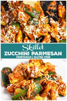 Skillet Zucchini Parmesan is the perfect healthy weeknight dinner for one! This one pan meal is hearty, comforting, and easy to make. Protein Snacks, Healthy Snacks, Healthy Eating, Clean Eating, Zucchini Parmesan, Parmesan Recipes, Vegetarian Main Dishes, Vegetarian Recipes, Healthy Recipes