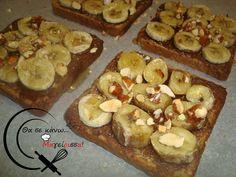 Γλυκό Σνακ με ταχίνι-κακάο, μπανάνα και μέλι! French Toast, Muffin, Breakfast, Food, Breakfast Cafe, Muffins, Essen, Yemek, Meals