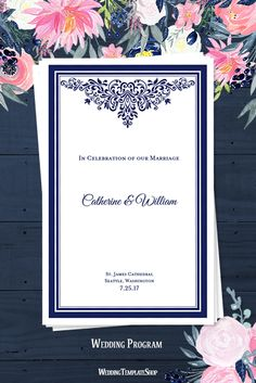 Wedding Program DIY - Printable Order of Service Template - Anna Maria Navy Blue.
