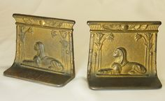 old metal book ends with sphinx image  #sphinx