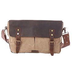aa15378bd Paonies Men Women Vintage Canvas Leather Messenger Traveling Briefcase Shoulder  Bag (Army green): Amazon.co.uk: Luggage