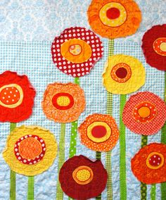 """Poppy baby quilt -poppies baby/ wall art quilt- """"Poppy Garden"""" red, yellow and orange poppies on light turquoise blue READY TO SHIP on Etsy, $200.00"""