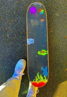 #indie #y2k #aesthetic #cottagecore #saturation #kidcore #unif #bratz #fashioninspo #iginspo #alt #tiktok Painted Skateboard, Skateboard Deck Art, Skateboard Design, Art Surf, Estilo Indie, Indie Girl, Cool Skateboards, Indie Room, Aesthetic Indie