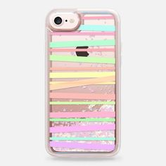 Casetify iPhone 7 Liquid Glitter Case - Pastel Rainbow Stripes II - Transparent/Clear background by Lisa Argyropoulos