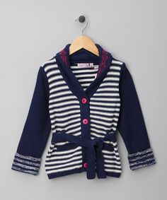 Take a look at this Navy & White Stripe Belted Hoodie - Toddler & Girls by Sugar Pink on #zulily today!