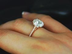 Thiiiiiiiis!!!!!! Just white gold. Oval Engagement Rings Solitaire Rose Gold Engagement On Pinterest Moissanite Rose Gold And Rose Gold Basblas