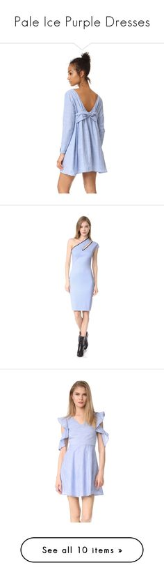 """Pale Ice Purple Dresses"" by tegan-b-riley on Polyvore featuring dresses, mini dress, long-sleeve mini dress, striped dresses, linen dress, long-sleeve shift dresses, one shoulder jersey dress, blue one shoulder dress, blue one sleeve dress and jersey sheath dress"