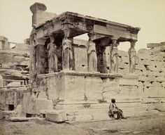 The Caryatid porch of the Erechtheum, Athens, Greece, circa 1862.
