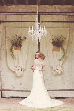 Vintage style wedding dress.