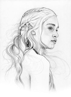 Emilia Clarke Daenerys Targaryen Khaleesi. Game of Thrones Character Drawings. To see more art and information about Corbyn S. Kern click the image. #ad