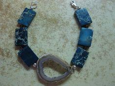 Bracelet drusy, sea sediment jasper, glass, sterling clasp by las81101 on Etsy