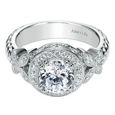 18k White Gold Victorian Halo Engagement Ring by Gabriel and Co. #ER4348W84JJ