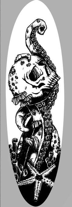 #octopus #skull #surfboard