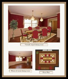 Virtual home staging done on a digital photo. Check out more details on my website! Home Staging, Floor Plans, Dining Room, Kitchen Appliances, Flooring, How To Plan, Website, Digital, Check