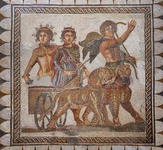 Mosaico de Baco a 3rd Century AD Roman Mosaic from Ecija. Archaeological Museum, Seville, Spain.