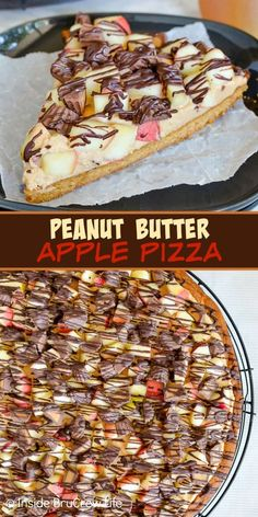 Peanut Butter Apple Cookie Pizza Peanut Butter Apple Pizza – creamy peanut butter, apples, and peanut butter cups on a giant peanut butter cookie makes a delicious dessert. Make this easy recipe for parties this fall! Baked Apple Dessert, Apple Dessert Recipes, Apple Recipes, Fun Desserts, Delicious Desserts, Sweets Recipes, Pizza Recipes, Yummy Snacks, Yummy Treats