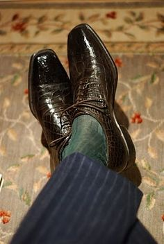 Green socks with a blue suit - Permanent Style