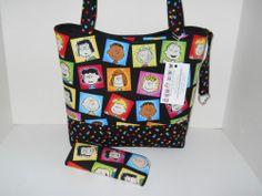 Handbag Tote Purse  Charlie Brown Peanuts fabric Handmade Large New #Handmade #ShoulderBag