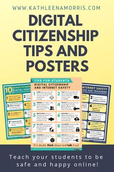 Want to learn more about digital citizenship and internet safety? I share tips for students and parents with lots posters for the classroom and a handout for families. Teach students how to be safe online and find free cyber safety posters. Digital Citizenship Posters, Citizenship Education, Internet Safety Tips, Cyber Safety, Digital Footprint, What Is Digital, Secondary Teacher, Teaching Technology, Classroom Posters
