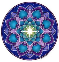 An 8-pointed white star draws your attention to the center of this stunning cosmic mandala filled with shades of blue, green, turquoise, violet and purple. Original artwork by Bryon Allen.