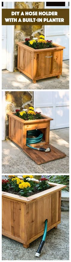 DIY Garden Planter Hose Storage